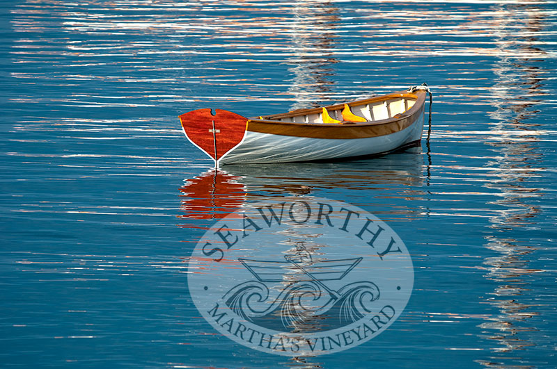 Photographic Art Print anchored skiff in fall colors
